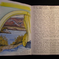 Travel Sketchbook, View out window and writing (Ms1997-006)