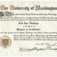 Diploma, Jane Hasting's Diploma in architecture (Ms2004-004)