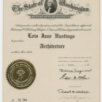 Architectural License, Jane Hastings, State of Washington (Ms2004-004)