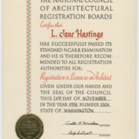 Architectural Registration, NCARB National Registration as Architect for Jane Hastings (Ms2004-004)
